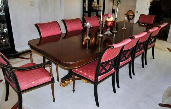 Stunning Empire Style Paw Footed Pedestals Mahogany Dining Table by Henredon, Two Leaves