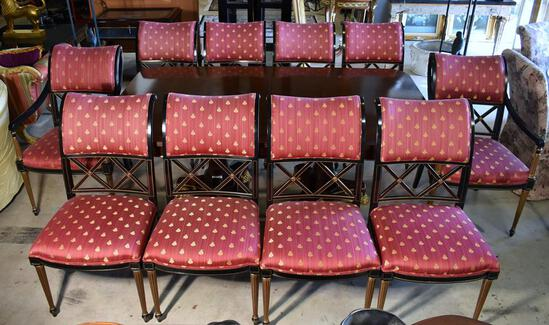 Set of 10 Rose & Gold Bee Motif Empire Style Dining Chairs by Henredon: 2 Master, 8 Side
