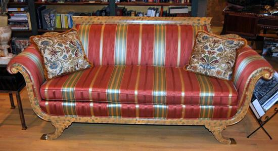 Red Gold & Green Stripe Federal Style Sofa w/ Hand Painted Finish to Wood Sections, 2 Accent Pillows