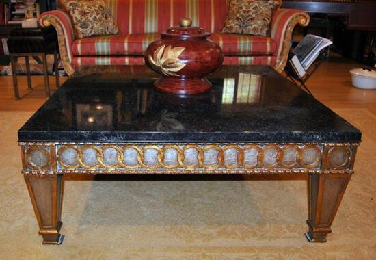 Black Marble Top Coffee Table, Accents by Heritage Furniture