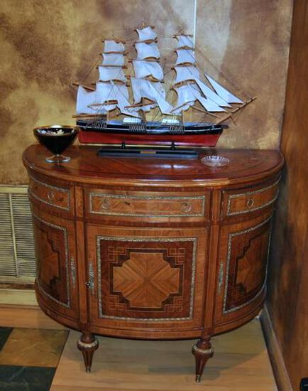 Fancy Inlay Demilune Console Cabinet