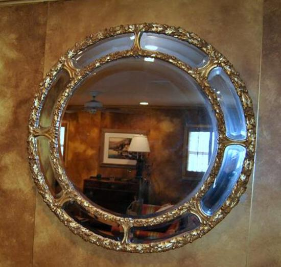 Stunning LaBarge Round Wall Mirror, Made in Italy