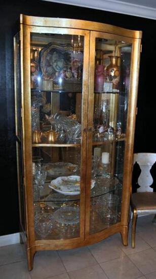 Gilt Henredon Bow Front Lighted Curio w/ Mirrored Back, Glass Shelves