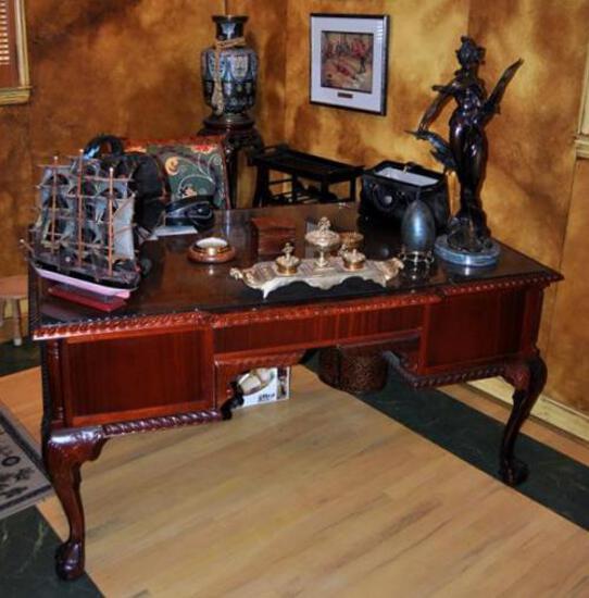 Handsome Mahogany Executive Desk w/ Cabriole Legs & Ball / Claw Feet, Glass Cover