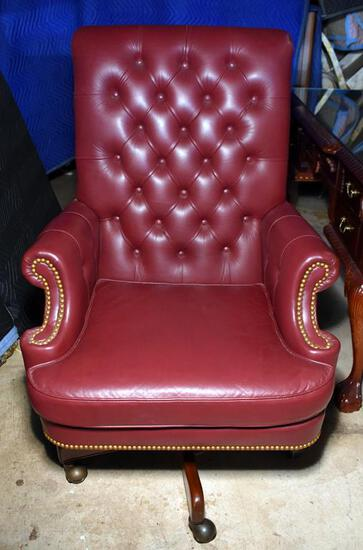 Hancock & Moore Red Cordovan Tufted Leather Executive Desk Chair, Nailhead Trim