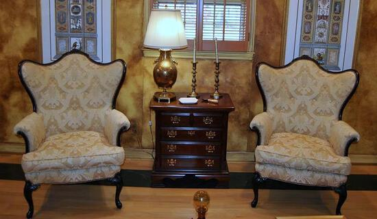 Gorgeous Wing Chair, Light Gold Damask Upholstery, Nailhead Trim (Lots 24 & 25 Match)