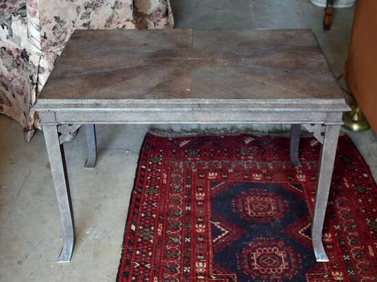 Maitland-Smith Small Elegant Leather Covered Table