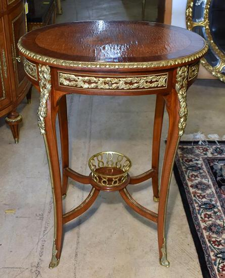 Beautiful Rococo Style Side Table, Sunburst Inlaid Top