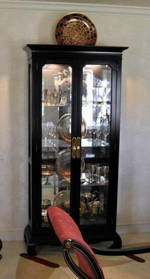 Black Curio/China Cabinet by Amer. of Martinville, Glass Shelves, Mirror Back, Lights Lots 6&7 Match