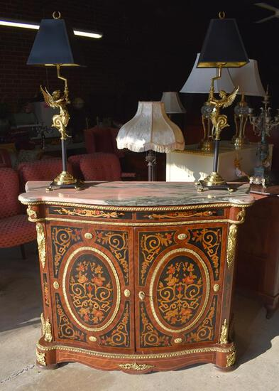 Remarkable Italian Marquetry Console w/ Pink Gray Marble Top & Ormolu Mounts