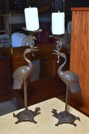 "Pair of Bronze Herons On Turtle Backs Candle Holders, 21"" H"
