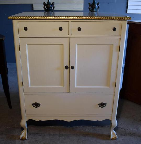 Painted Vintage Mahogany Dresser, Ball & Claw Feet
