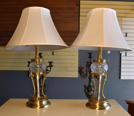 "Pair of Beautiful Crystal & Antiqued Brass Bombay Co. Sideboard Lamps,28"" H"
