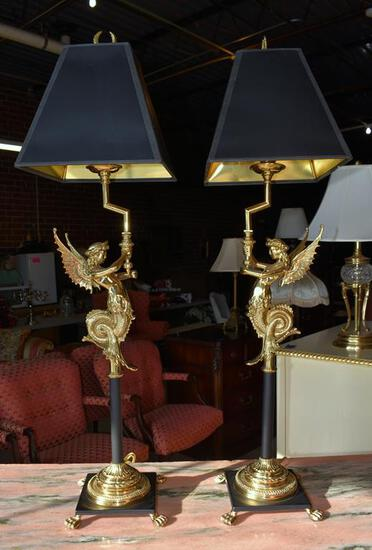 Pair of Mythological Creature Sideboard Lamps by Oriental Accent