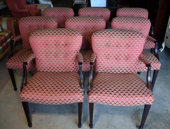 Set of Eight Fine Upholstered Dining Armchairs, Burgundy & Gold, Tufted Backs
