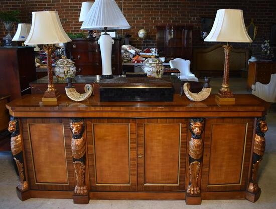 Magnificent Lion's Head & Paw Pillared Sideboard w/ Silver Storage Drawer by Heritage
