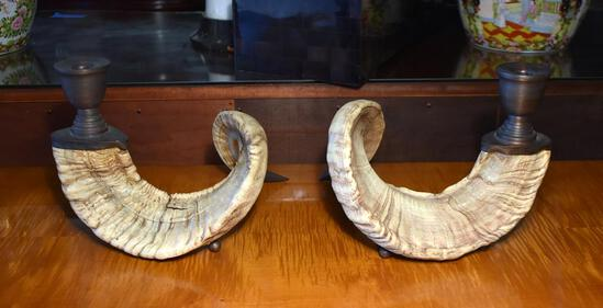 "Wonderful Pair of Cusi Ram's Horn Candle Holders, 12"" L"