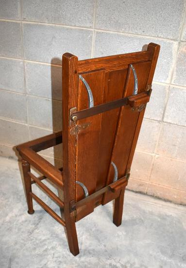 Antique Edwardian English Oak Pressing Chair by V.C. Bond & Sons