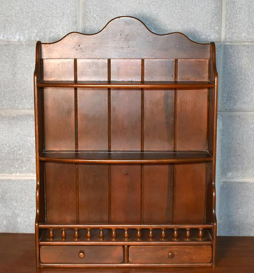 Cute Antique Wall Curio Display Shelf with Two Drawers at Bottom