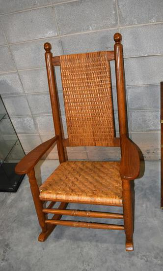 Handsome Oak Kennedy Presidential Rocker with Woven Cane Seat & Back, Dark Blue Cushions