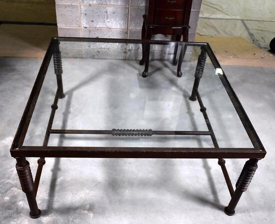 Handsome Contemporary Iron and Glass Coffee Table