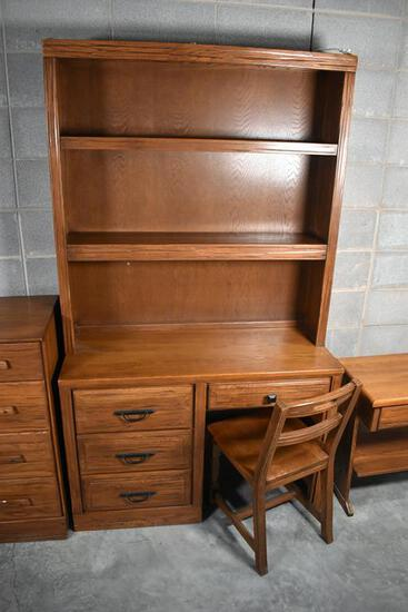 "Quality ""Ranch Oak"" by Brand Furniture Bedroom Desk, Chair & Hutch with Desk Light"