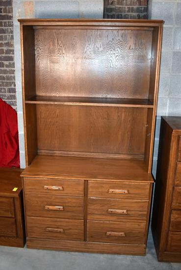 "Quality ""Ranch Oak"" by Brand Furniture Bedroom Dresser Chest with Shelf Hutch"