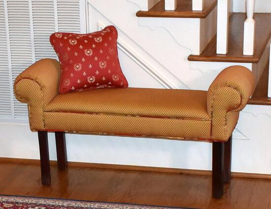 Diminutive Upholstered Scroll Arm Bench with Red Accent Honeybee Pillow