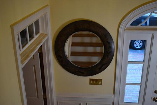 Safari Motif Round Wall Mirror by Basset Mirror Co., Beveled Glass