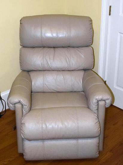 Comfortable and Handsome La-Z-Boy Ivory/Ecru Leather Recliner
