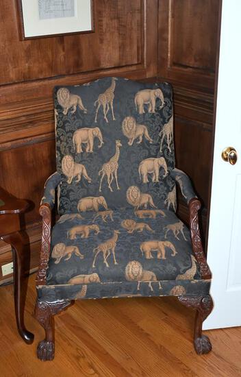Safari Motif Upholstered Carved Mahogany Armchair with Paw Feet