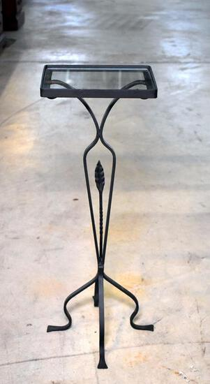 Charming Black Strap Metal Plant Stand with Glass Top