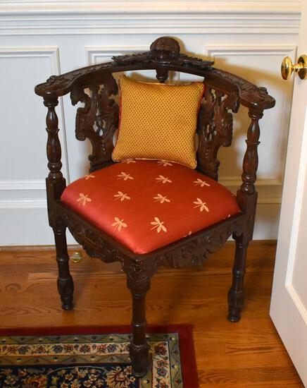 Ornate and Lovely Carved Mahogany Corner Chair w/ Dragonfly Upholstered Seat