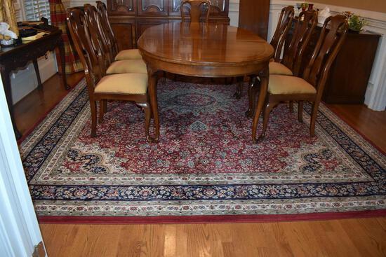 "Large 10' x 12'7"" Polypropylene Ariana Rug, Persian Style; Burgundy, Navy, Sage & Ivory"