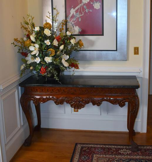 Fabulous Carved Mahogany Console Table, Paw Feet, Faux Marble Top