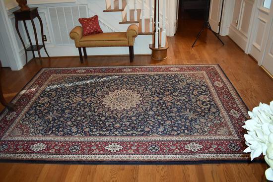 "Foyer 6'7""' x 9'6"" Polypropylene Ariana Rug, Persian Style; Burgundy, Navy, Sage & Ivory"