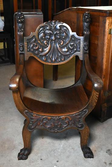 Antique Victorian Whimsy Gothic Revival Stomps-Burkhardt Northwind Tiger Oak Fireside Chair