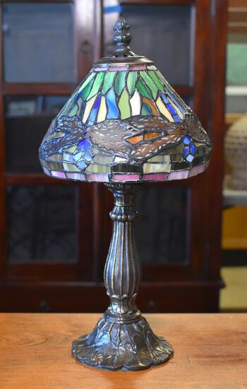 """Stained Glass Blue Dragonfly """"Tiffany"""" Style Accent Lamp, 15"""" H"""