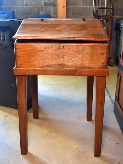 Antique Southern Virgin Pine Slant Top Railroad Station Desk