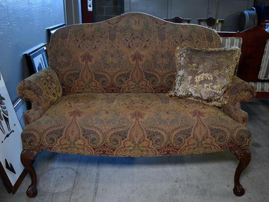 Beautiful Contemporary Fairfield Camelback Settee, Tapestry Upholstery, Ball & Claw Feet