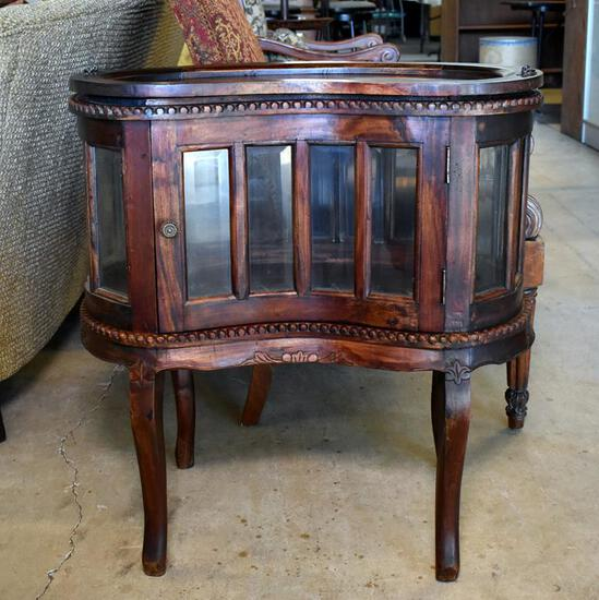 Charming Contemporary Carved Mahogany Kidney-Shaped Curio / Tea / Chocolate Table w/ Tray Top