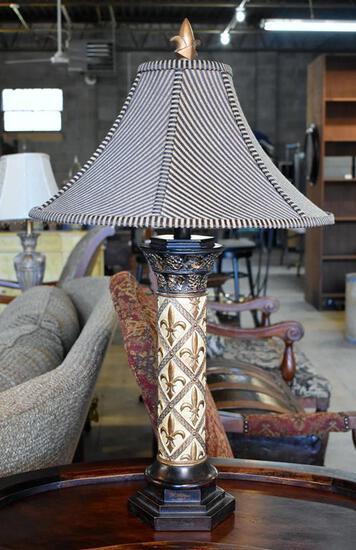 """Handsome Contemporary Fleur-de-Lis Table Lamp, 30"""" H"""
