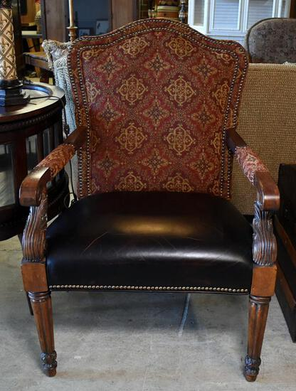 Fabulous Contemporary Fairfield Geometric Tapestry Leather Seat Armchair