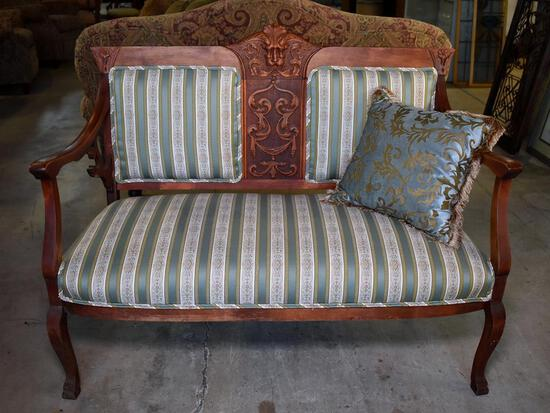 Antique Gothic Revival Carved Cherry Northwind Settee, Lots 2-5 Are Matching Set