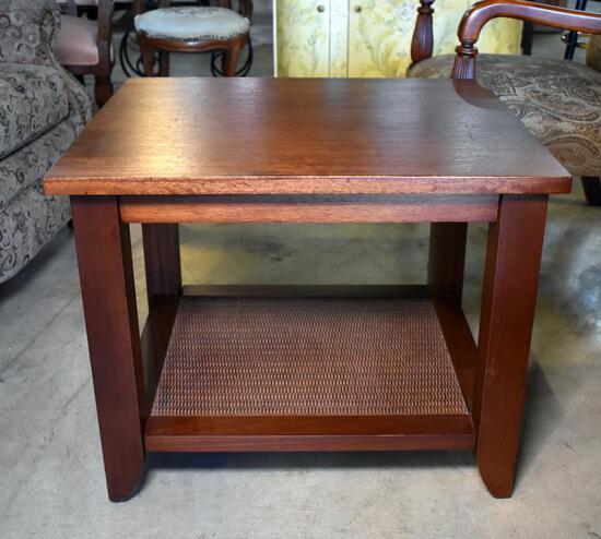 Contemporary Mahogany Side Table with Woven Fiber Texture Bottom Shelf