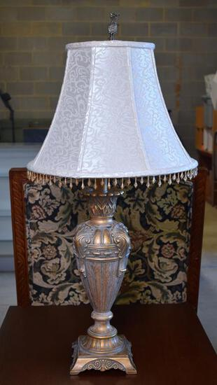 """Elegant Antiqued Gilt Silver Finish Contemporary Table Lamp, 35"""" H"""