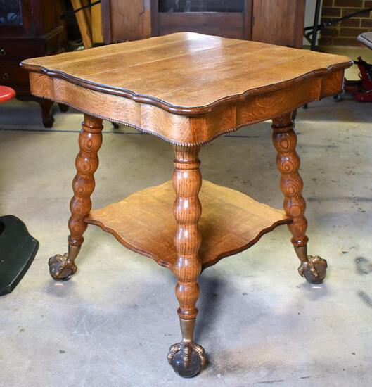 Stunning Antique Tiger Oak Game Table with Glass & Brass Ball & Claw Feet