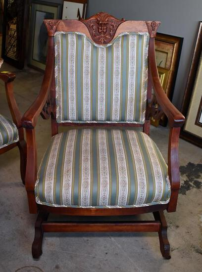 Antique Gothic Revival Carved Cherry Northwind Platform Rocker, Lots 2-5 Are Matching Set