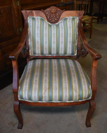 Antique Gothic Revival Carved Cherry Northwind Armchair, Lots 2-5 Are Matching Set