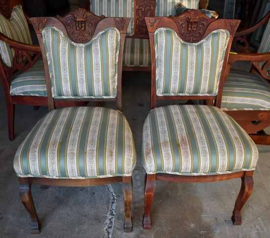 Pair of Antique Gothic Revival Carved Cherry Northwind Side Chairs, Lots 2-5 Are Matching Set